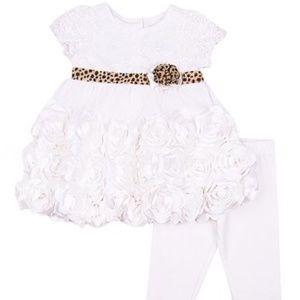 Ivory Lace Rose Cap-Sleeve Dress & Leggings